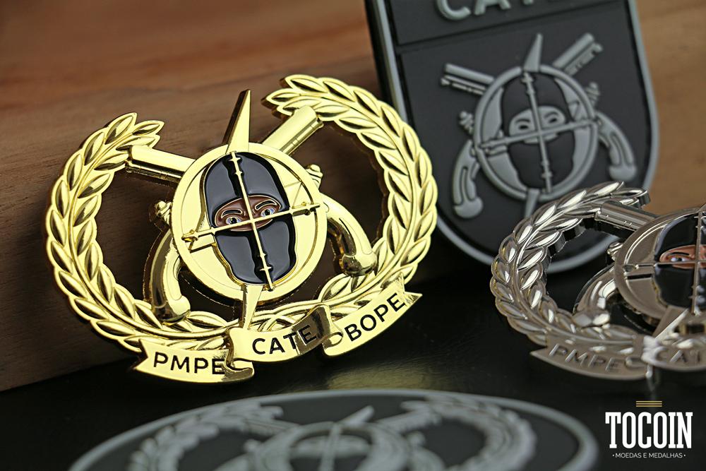 Brevê em metal do Curso de Ações Táticas Especiais do BOPE da PMPE.