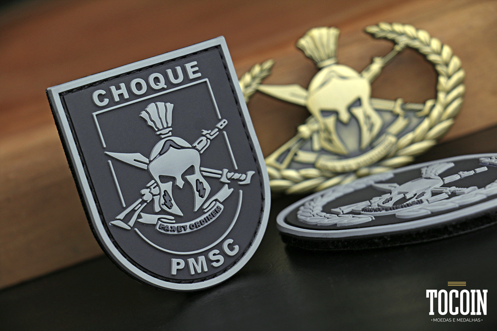 Patch emborrachado do Grupamento de CHOQUE da PMSC.