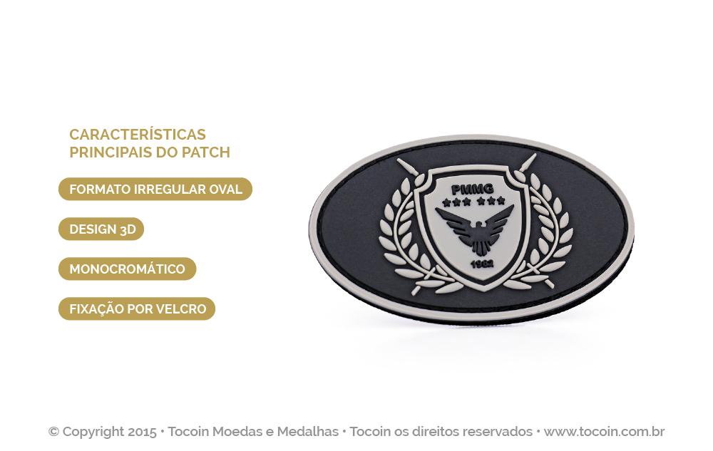 Patch de borracha do Tático Móvel da PMMG.