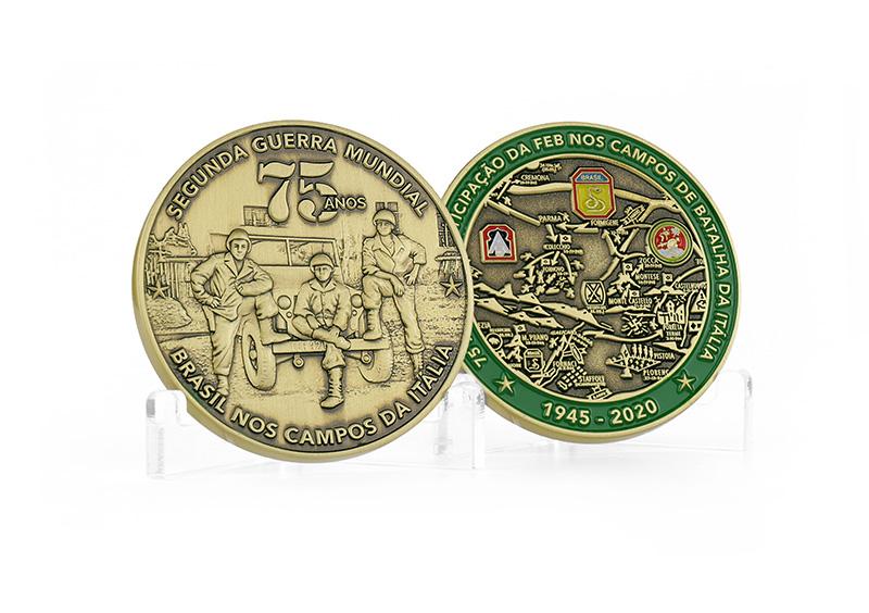 Anverso e Reverso da moeda da FEB de 75 anos, que já está disponível na Tocoin Store